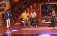 Virender Sehwag and Sunil Gavaskar on the sets of Comedy Nights with Kapil