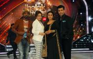 Rani Mukerji with 'Jhalak' judges Remo Dsouza, Madhuri Dixit and Karan Johar