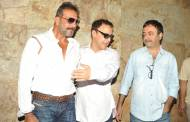 Sanjay Dutt along with Filmmakers Vidhu Vinod Chopra and Raju Hirani