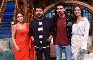 Pati Patni aur Woh actors on the sets of The Kapil Sharma Show