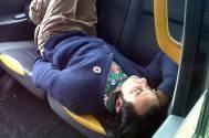 Saif Ali Khan taking a nap in London's Black Taxi