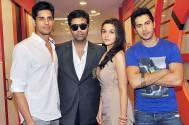 Karan Johar with Sidharth Malhotra, Alia Bhatt and Varun Dhawan