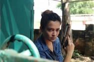 Samikssha Batnagar shooting action sequence with Gun for Hemant N Mishra Next