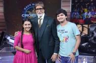 Tara and Bedane bump into Amitabh Bachchan on KBC set