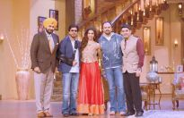 Shah Rukh Khan, Deepika Padukone and Rohit Shetty on the sets of Comedy Nights With Kapil