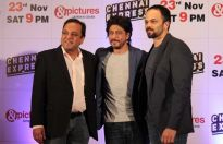 Punit Goenka, MD, ZEEL, Shahrukh Khan and director Rohit Shetty at the Zee TV success party of Chennai Express