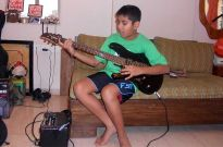 Partho Gupte with his guitar