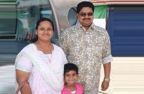 Malayalam film producer Santhosh Kumar, his wife Manju and their daughter Gouri