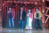 Ayushmann Khurrana and Kunaal Roy Kapur on the sets of Zee TV