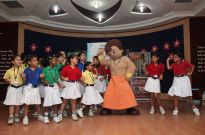 Chhota Bheem and kids performing at the POGO Bheem's Masti Ki Class school contact program at Ryan International school