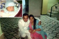 Manish Arora with his wife and their baby
