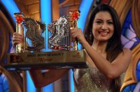 Gauahar Khan with the Bigg Boss 7 victory trophy
