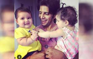 Karanvir Bohra with his twins