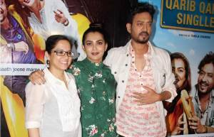 "Tanuja Chandra, Parvathy Thiruvoth Kottuvata & Irrfan Khan at the screening of film ""Qarib Qarib Singlle"""