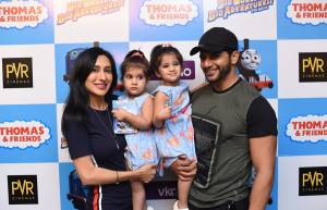 Karanvir and Teejay  with  Vienna and Bella at screening of Thomas and Friends