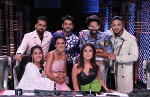 Judges Kareena Kapoor Khan, Bosc Martis, Raftaar along with Geeta Kapoor, Ravi Dubey, Nia Sharma and host Karan Wahi on DID
