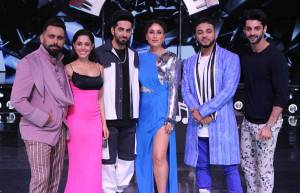 Dream Girl cast at Dance India Dance set