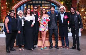 Kartik Aryan and Sara Ali Khan on the sets of The Kapil Sharma Show