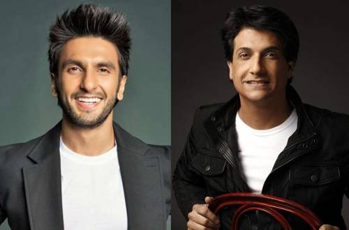 Check out how Ranveer Singh holds on to Shiamak Davar's leg while rehearsing