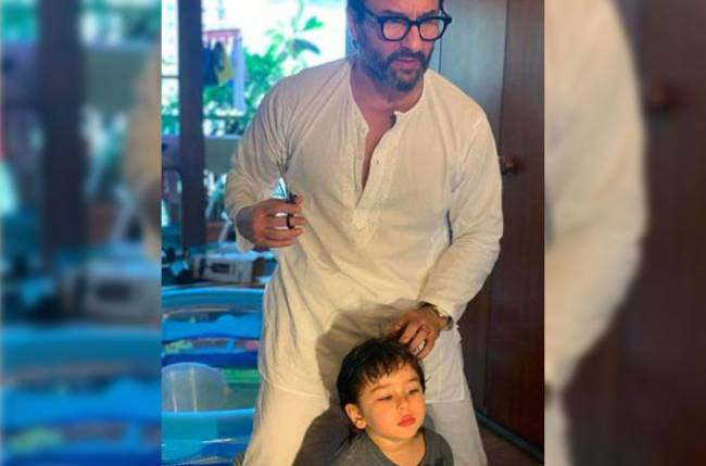 Saif Ali Khan turns hairstylist for son Taimur; see pic