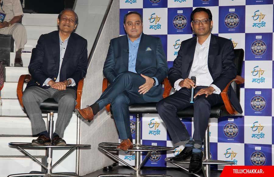 Siddhartha Basu of Big Synergy, host Sachin Khedekar and Anuj Poddar, EVP Viacom18 & Business Head, ETV Marathi