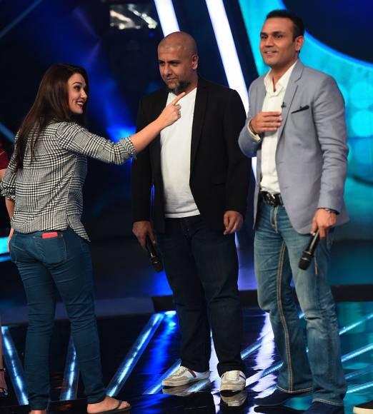 Vishal Dadlani, Preity Zinta, Virender Sehwag and Salim Merchnt on the sets of Indian Idol Junior