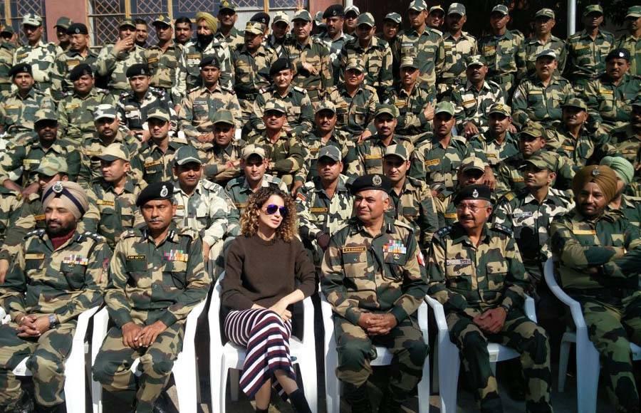 Kangana Ranaut interacts with jawans at an Army camp