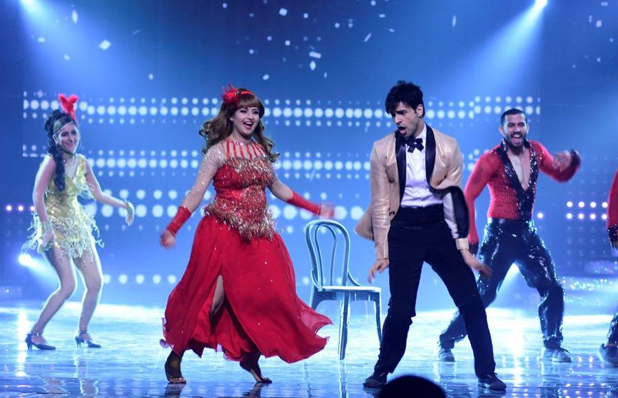 Contestants - Sanam and Abigail on the sets of Nach Baliye