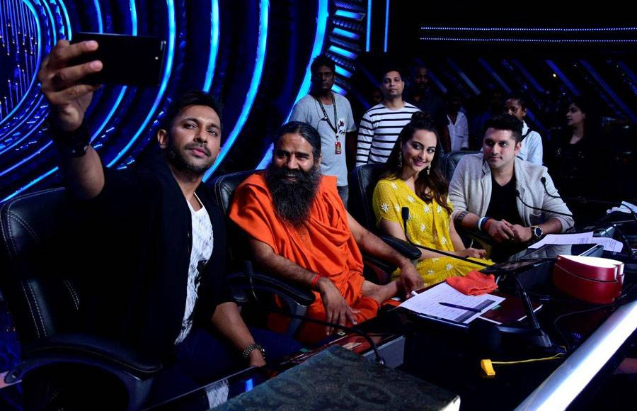 Wild Card contestants make an entry with Baba Ramdev on the sets of Nach Baliye