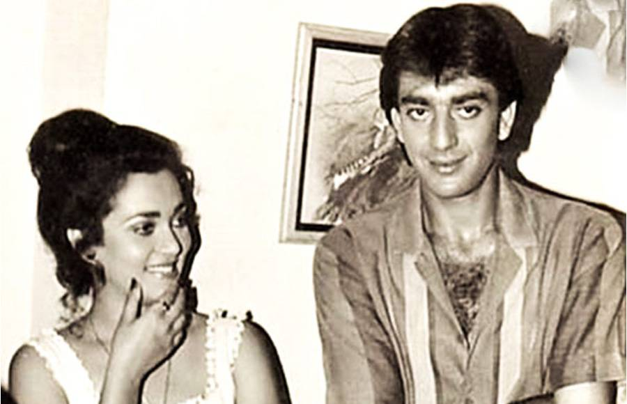 Nargis and a young Sanjay Dutt