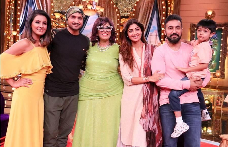 Geeta Basra, Harbhajan Singh, Archana Puran Singh, Shilpa Shetty Kundra, &  Raj Kundra with Son
