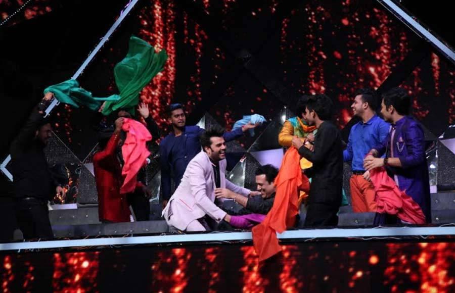 Govinda on the sets of Indian Idol