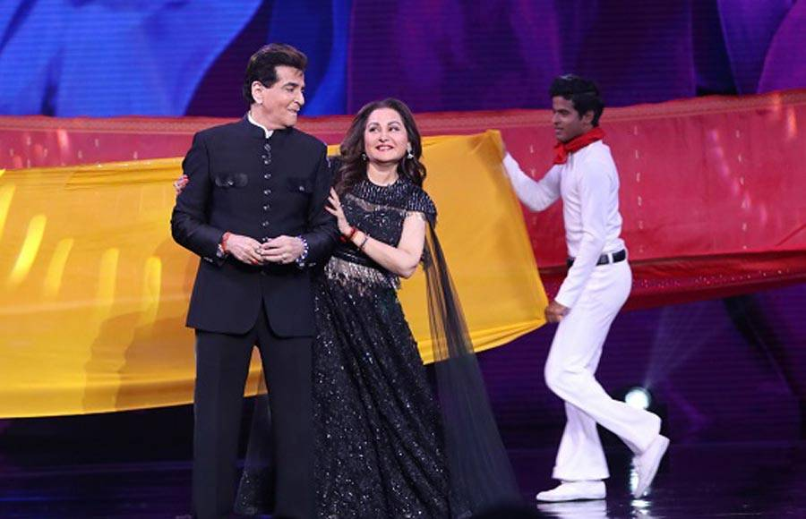 Jeetendra and Jaya Prada on the sets of Super Dancer Chapter 3