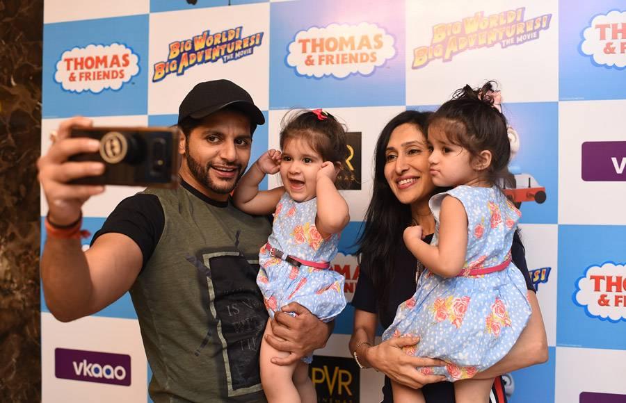 Karanvir and Teejay  with  Vienna and Bella at screening of Thomas and Friends