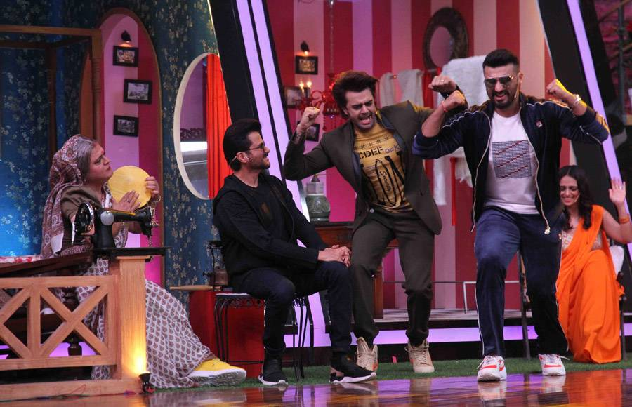 Anil Kapoor and Arjun Kapoor from the sets of Movie Masti with Maniesh Paul